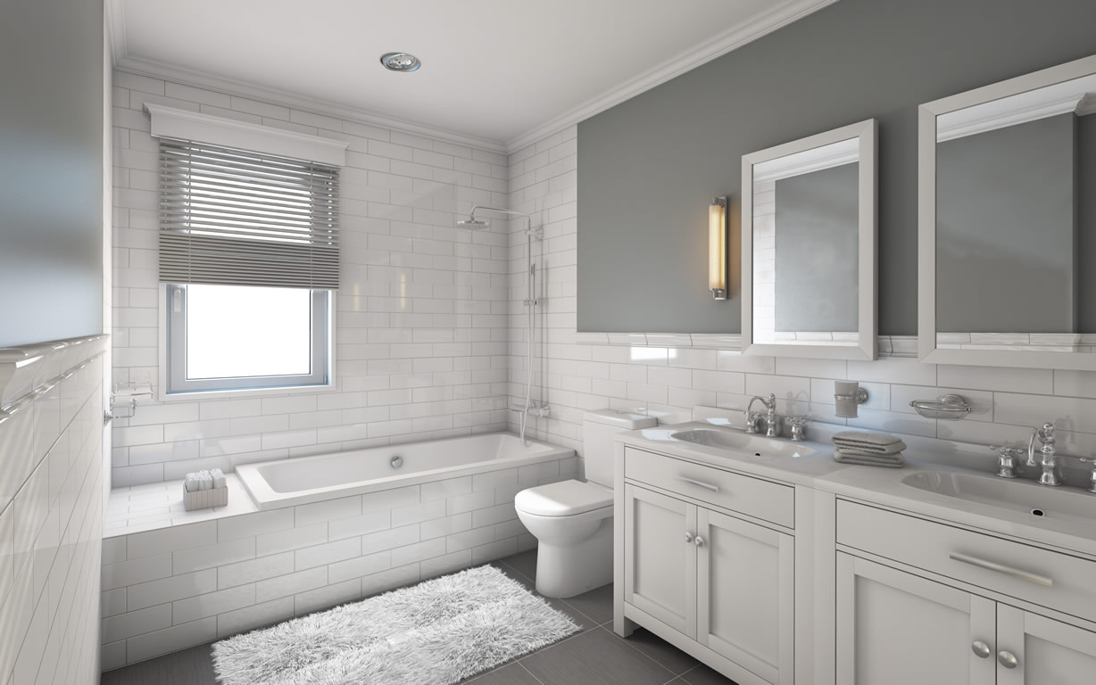 Adorable Design Of The Brown Wooden Floor Added With White Cabinets And Grey Wall Ideas As The Bathroom Remodel Ideas