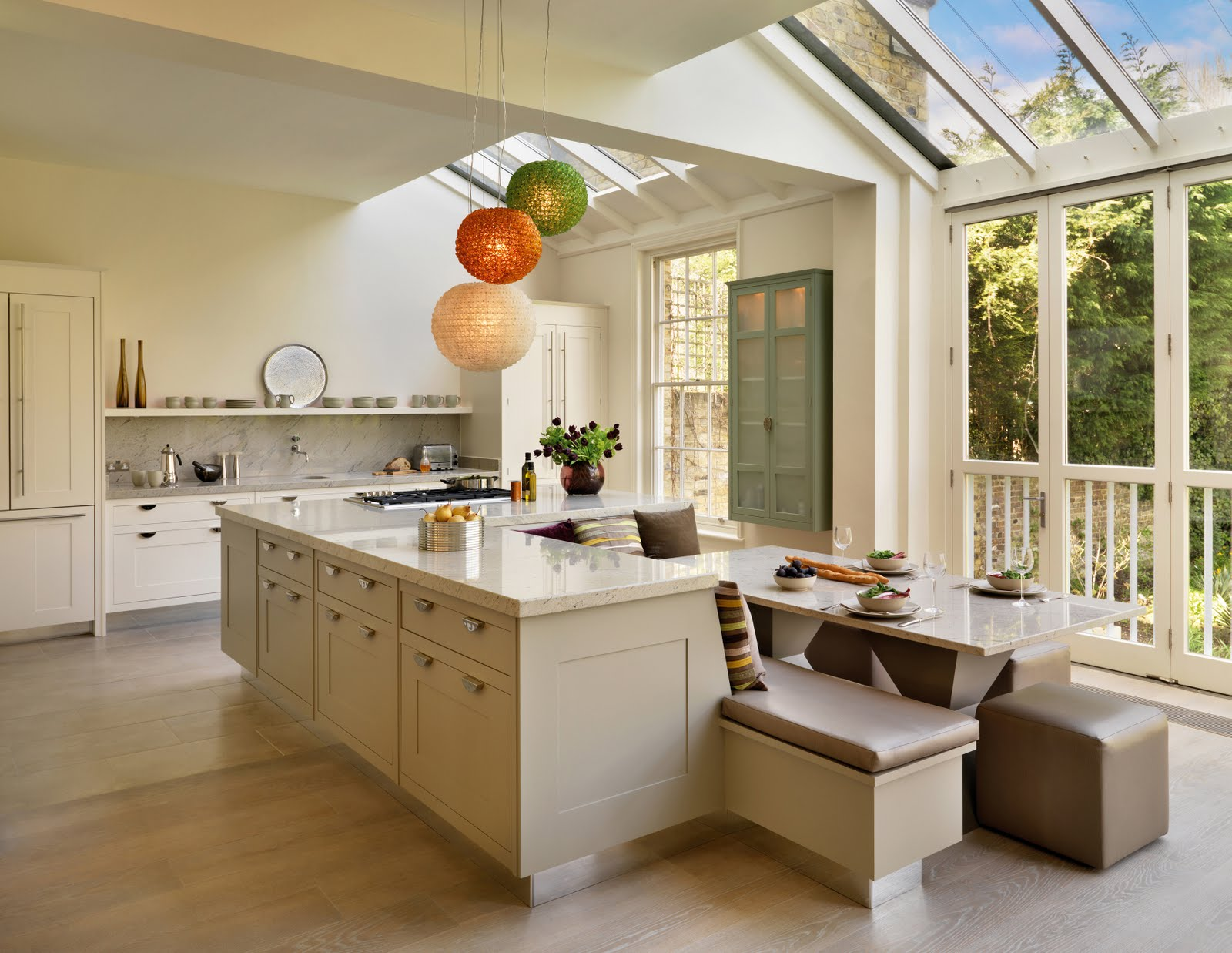 Adorable Design Of The Brown Wooden Floor Added With White Cabinets And Kitchen  Island As The