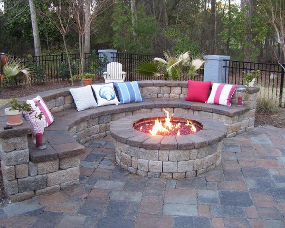Adorable Design Of The Brown Wooden Seats Added With Rounded Rock Backyard Fire Pit Ideas