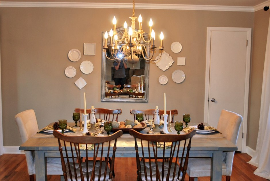Adorable Design Of The Dining Room Centerpieces With Grey Wooden Table Ideas Added With Brown Wooden Chairs Ideas