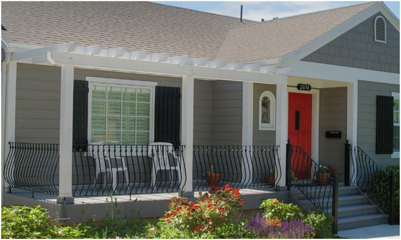 Adorable Design Of The Front Patio Areas With Red Wooden Doors Ideas With  White Chairs