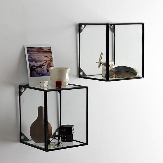 Adorable Design Of The Glass Wall Shelves With White Wall Added With Black Iron Frame Cubic Shape Ideas