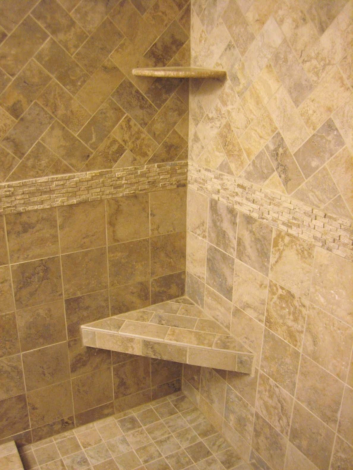 Adorable Design Of The Grey Wall Tile Shower Ideas Added With Corner Shelves Ideas For Bathroom