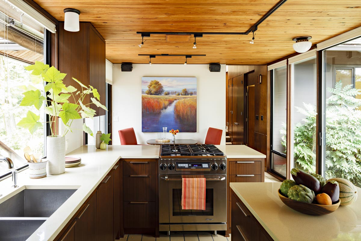Adorable Design Of The Mid Century Modern Kitchen With Brown Wooden Cabinets Added With White Marble Top Desk And Brown Wooden Ceiling Ideas