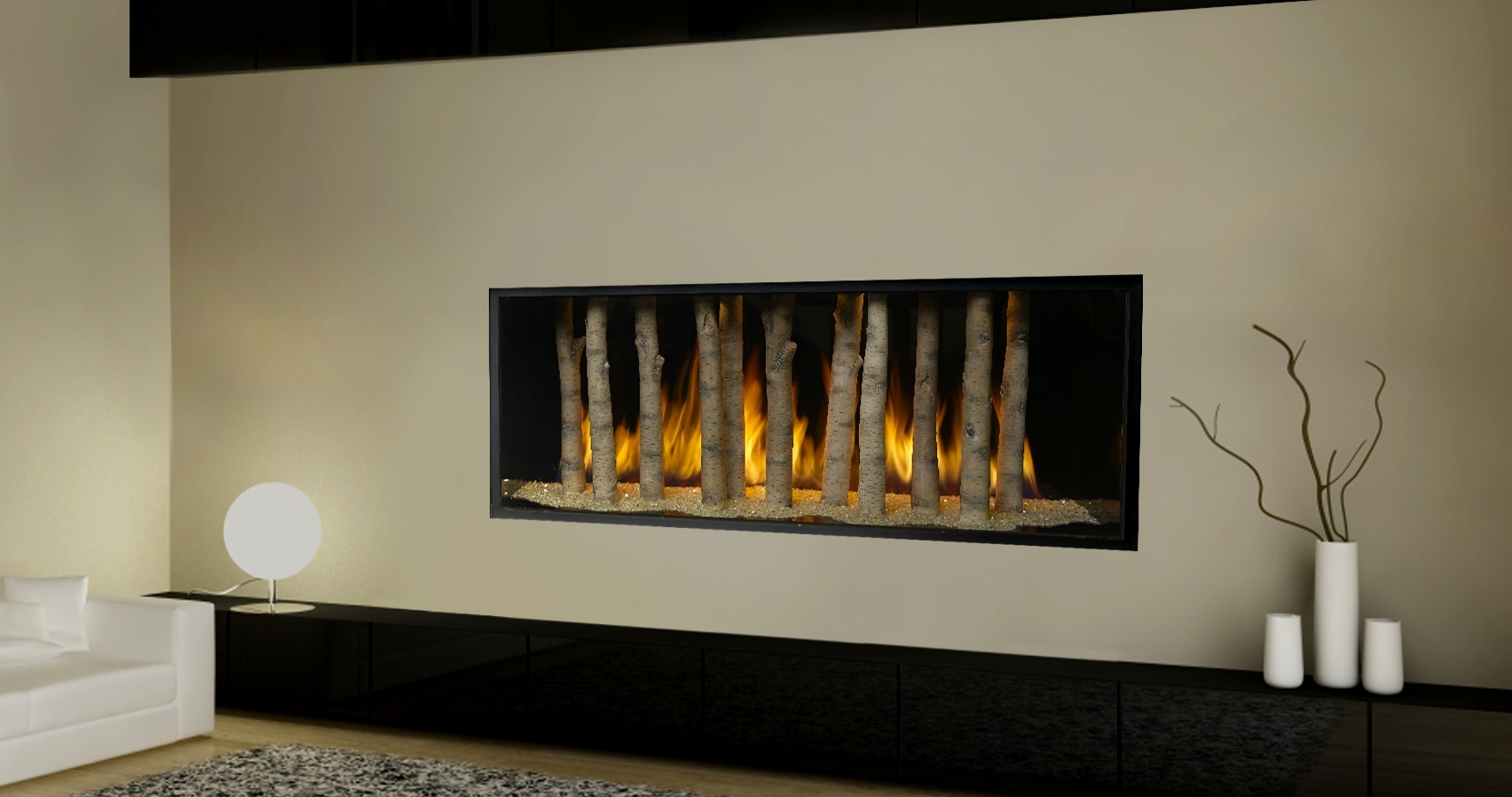 Adorable Design Of The White Wall Added With Whtie Sofa And Black Wooden Shelves Ideas With Modern Gas Fireplace Ideas