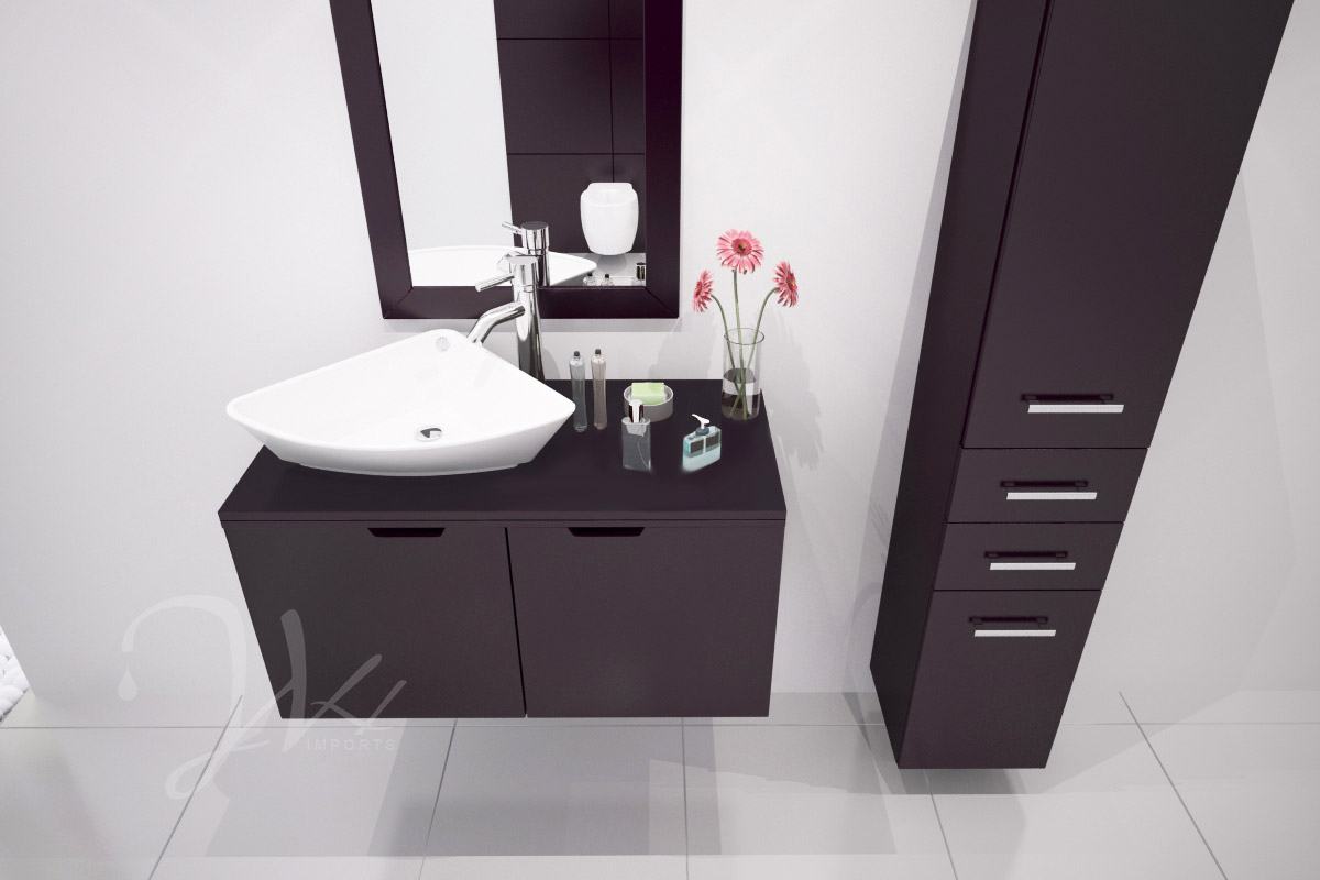 Adorable Design Of The White Wall And Black Storage Added With Black Floating Vanities Ideas With White Sink