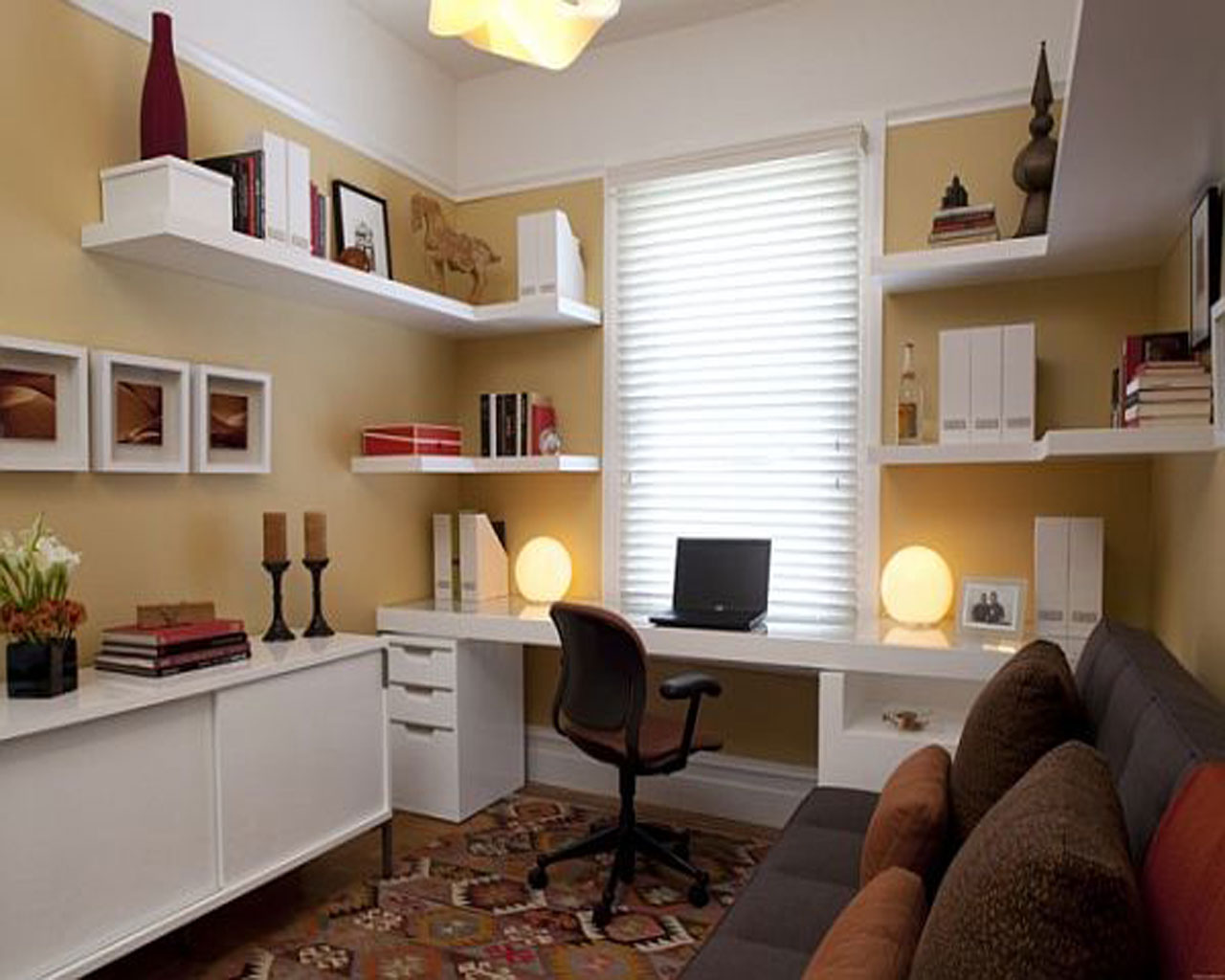 small home office space home. Adorable Design Of The White Wooden Table Added With Shelves And Brown Wall As Small Home Office Space