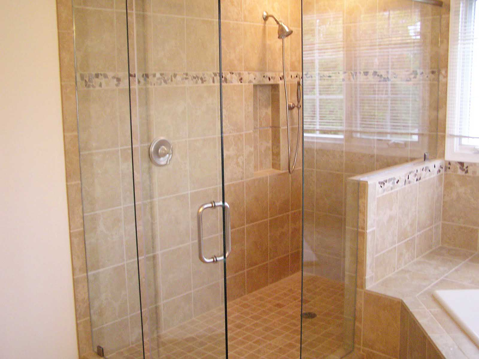 Amazing Design Of The Bathroom Areas With Beige Wall And Glass Wall Added With Bathroom Shower Tile Ideas