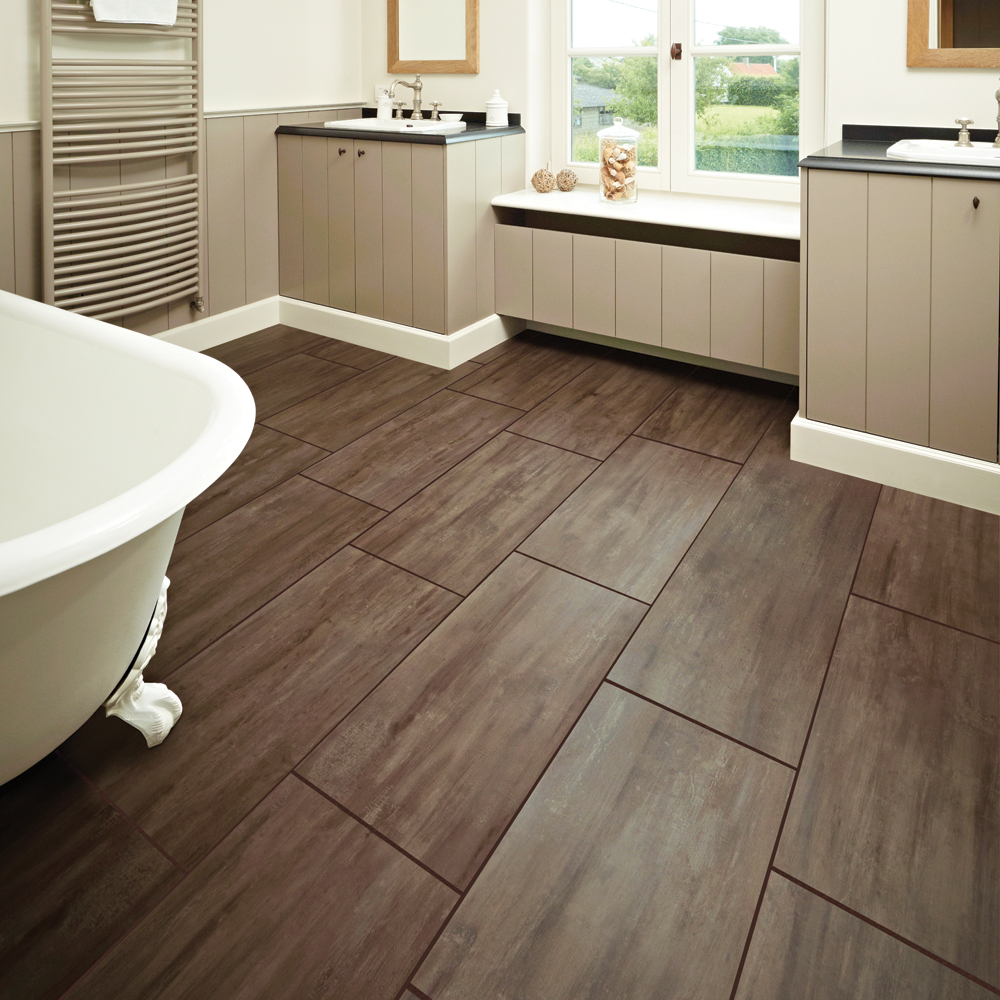 Beautiful Flooring Bathroom Ideas Part - 10: Amazing Design Of The Bathroom Areas With Brown Wooden Floor Ideas Added  With White Tub And