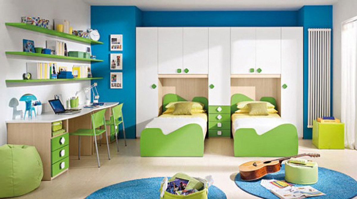 Amazing Design Of The Bedroom Kids Areas With Bedroom Kids Furniture With Blue Wall And Green Twin Bed Ideas
