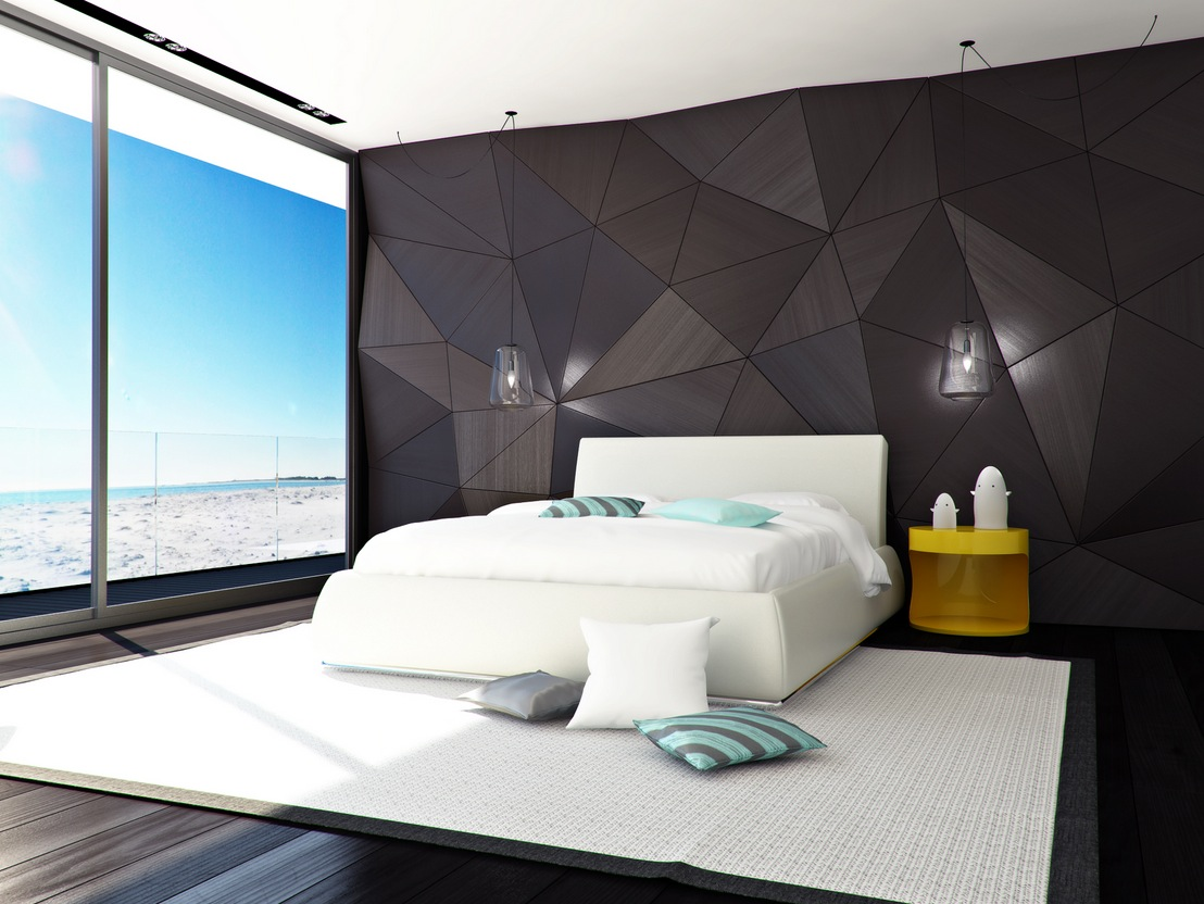 Amazing Design Of The Black Contemporary Wall Ideas With White Rugs And Black Floor Ideas As The Bedroom Modern Style