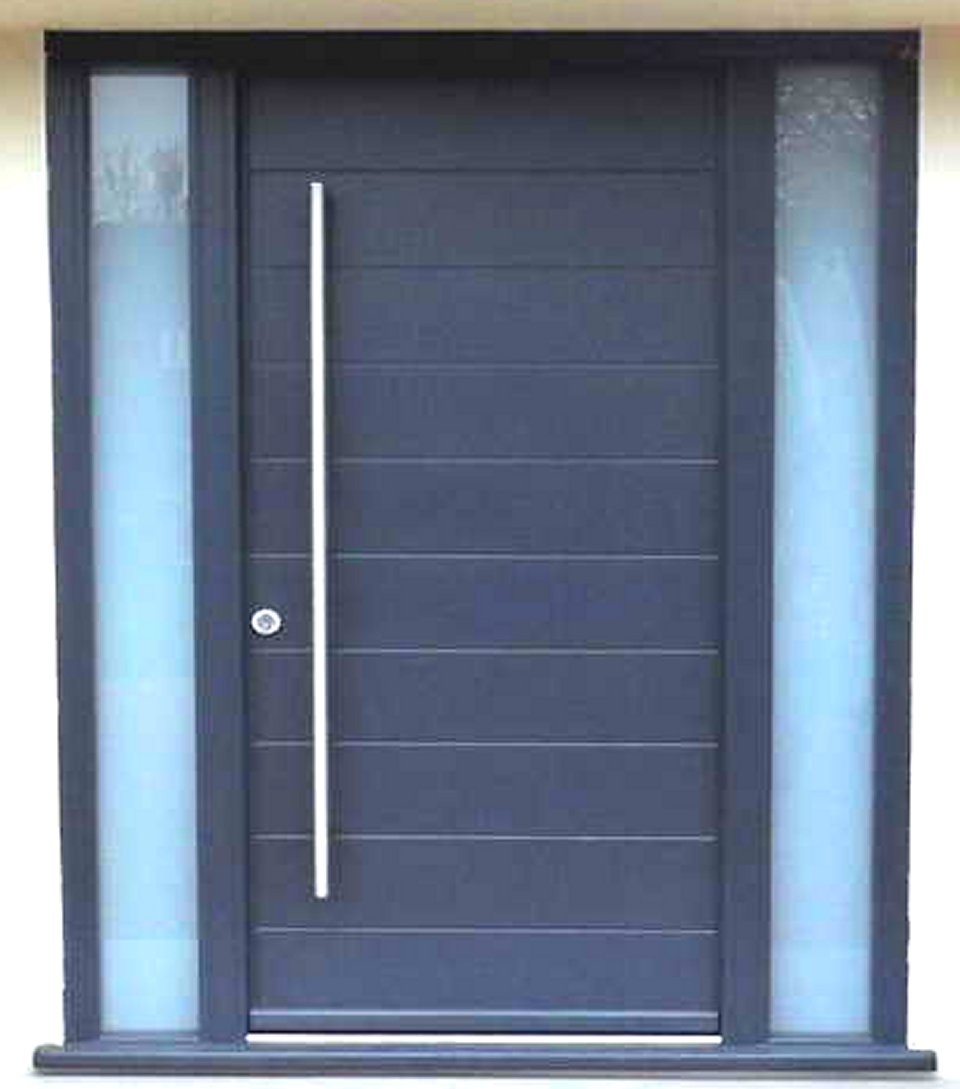 Amazing Design Of The Blue Wooden Modern Front Doors With Long Knobs Ideas With Blue Windows Ideas