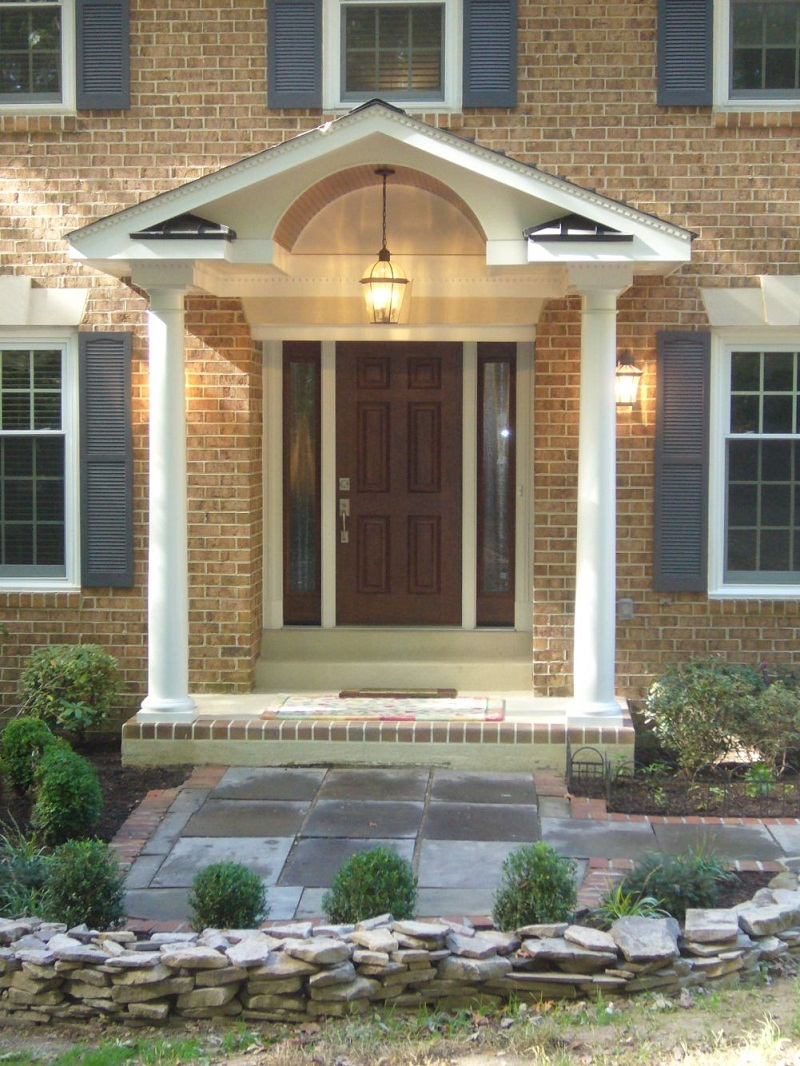 Amazing Design Of The Brown Wooden Door Ideas With Front Patio Ideas With Rocks Tile Ideas