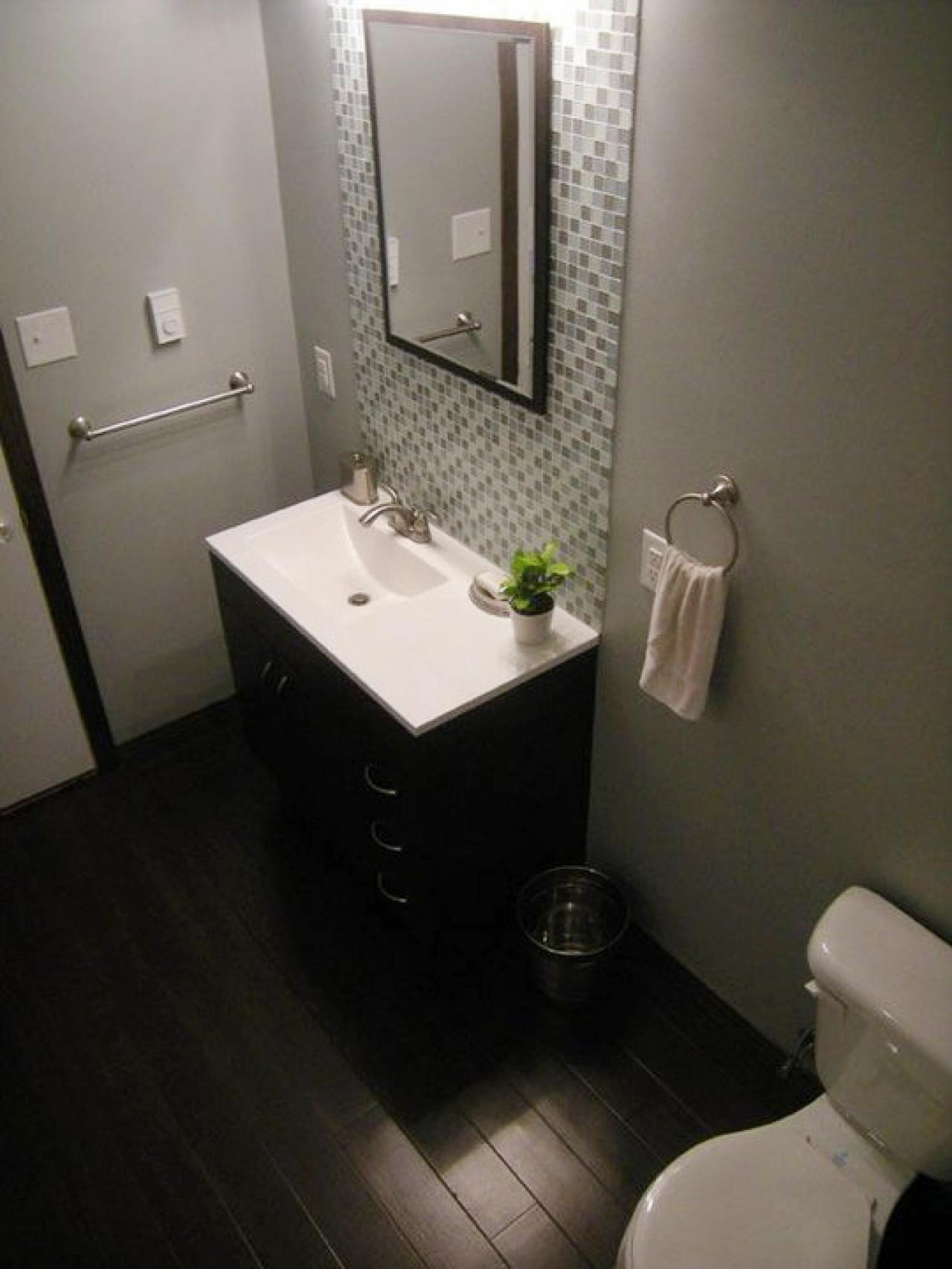 Amazing Design Of The Brown Wooden Floor Added With Brown Wooden Cabinets And White Sink As The Diy Bathroom Remodel With Grey Wall