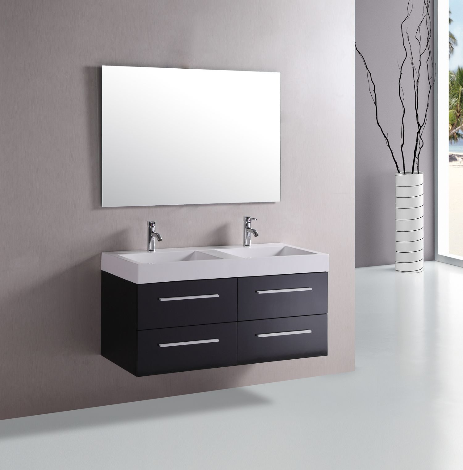 Amazing Design Of The Grey Wall Added With White Sink And Mirror Ideas As The Floating Bathroom Vanity