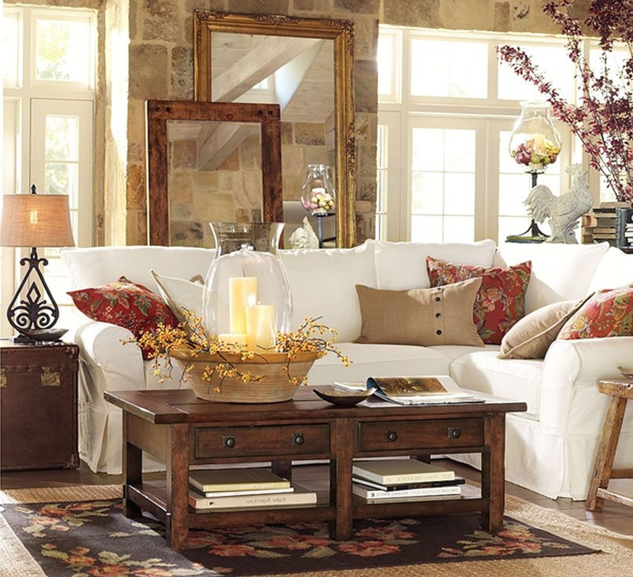 Amazing Design Of The Living Room Areas With White Sofa Added With Brown Wooden Table As The Pottery Barn Living Room