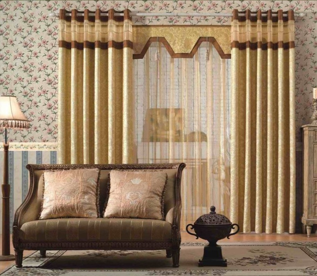 Amazing Design Of The Living Room Drapes With Floral Wall Paper Ideas Added With Gold Curtain Ideas And Brown Floor Ideas