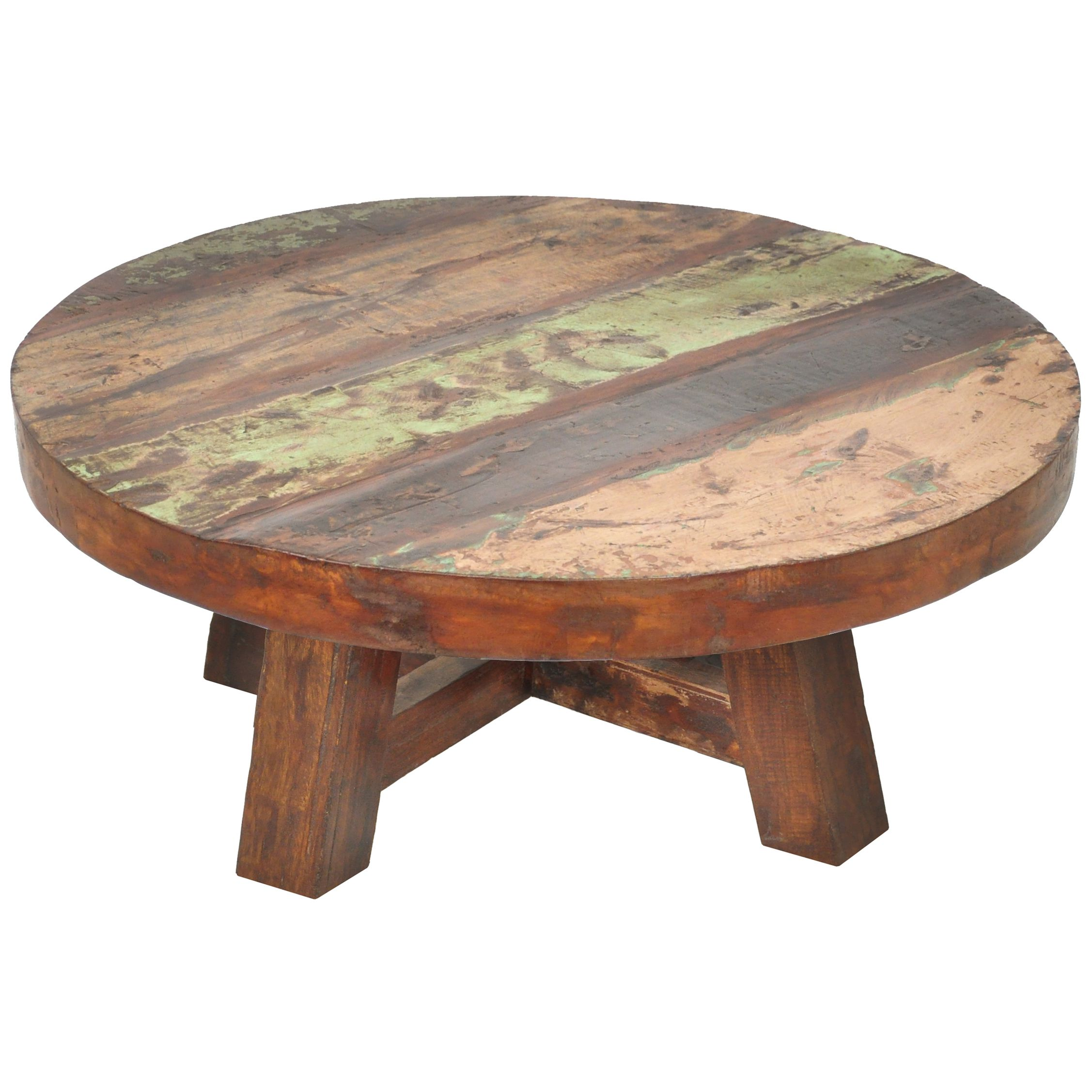 Fascinating round wood coffee table for home bar
