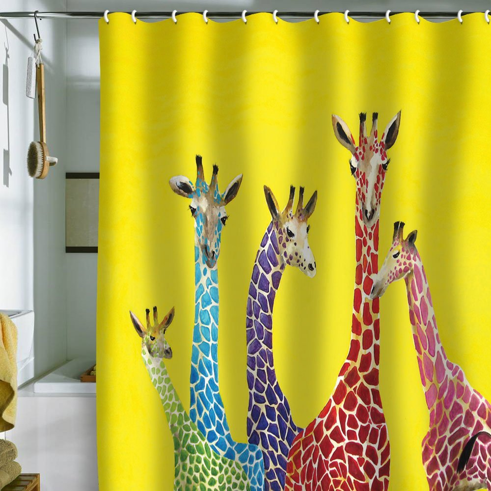 amazing design of the yellow curtain with giraffe ideas dor the shower curtain ideas - Cute Shower Curtains