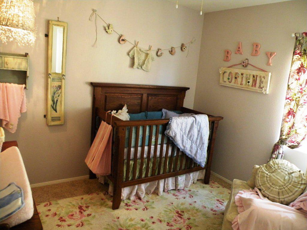 Amusing Design Of The Baby Nursery Themes With Brown Wooden Baby Bed With Grey Wall And Floral Rugs Ideas