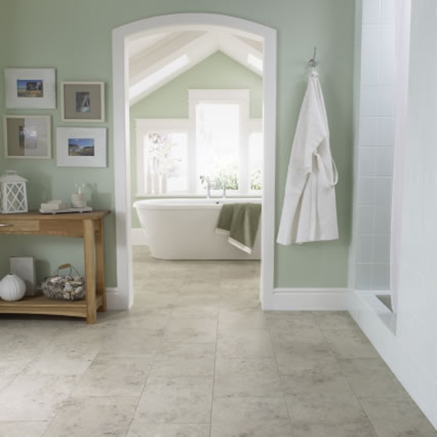 Amusing Design Of The Bathroom Areas With Grey Tile Floor Ideas Added With Grey Wall And Brown Wooden Cabinets Ideas