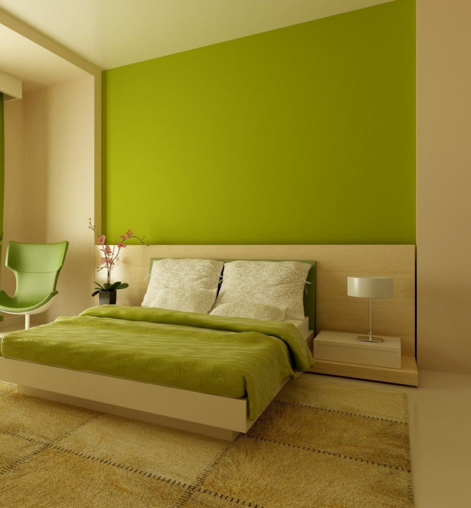 Amusing Design Of The Bedroom Areas With Brown And Green Wall Paint Colors With Green Chairs Ideas