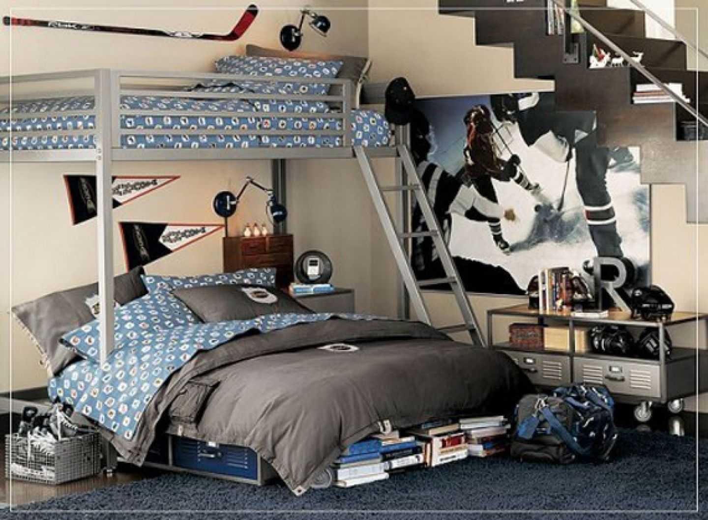 Attirant Amusing Design Of The Black Rugs Ideas With White Wall And Blue Bed As The  Room
