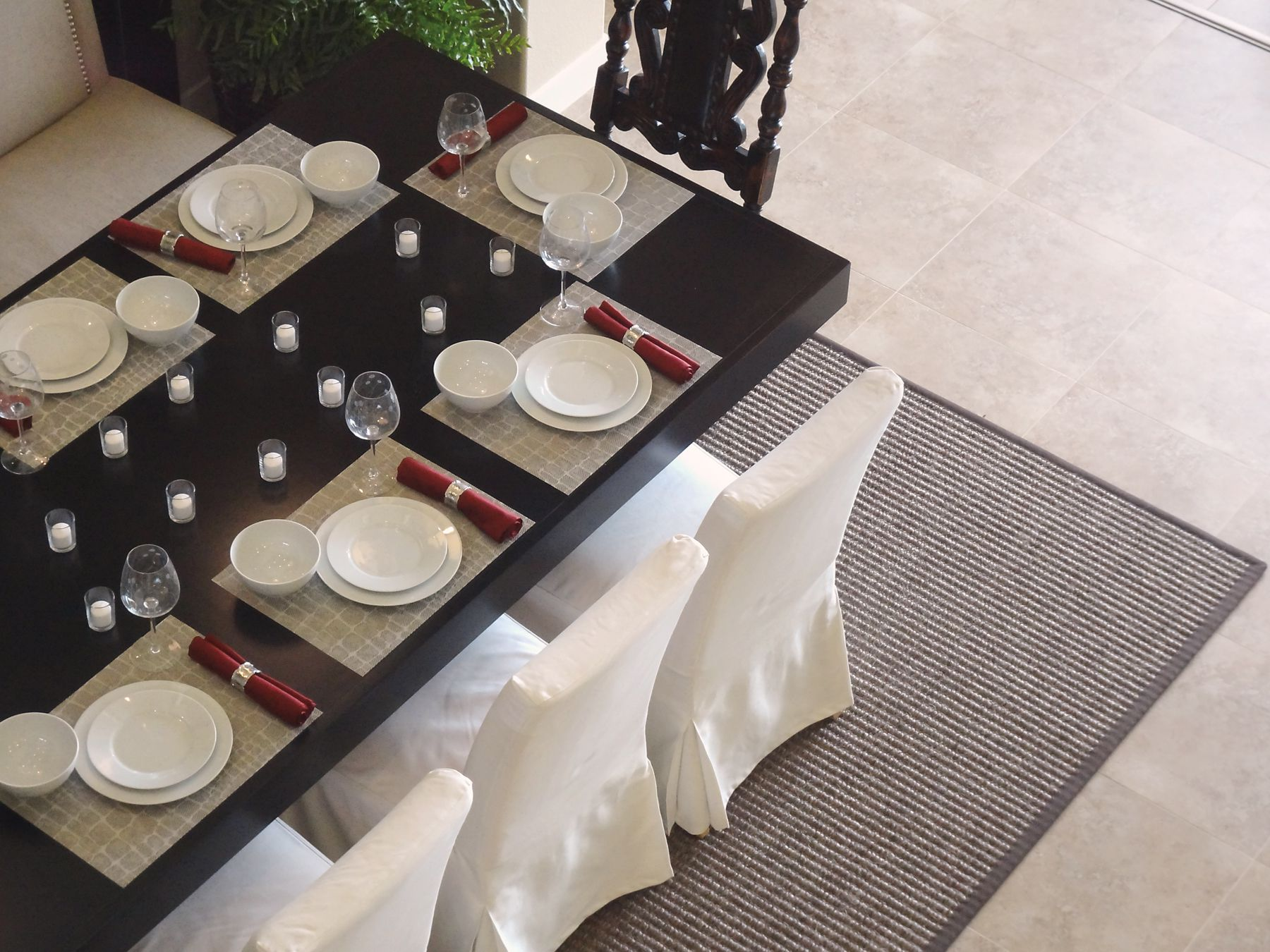 Amusing Design Of The Dining Room Areas With Grey Rugs Added With White  Seats And Black