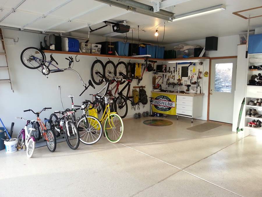 Amusing Design Of The Garage Bike Storage With White Wall Ideas Added With Beige Floor Ideas With So Many Bike And Some Shelves