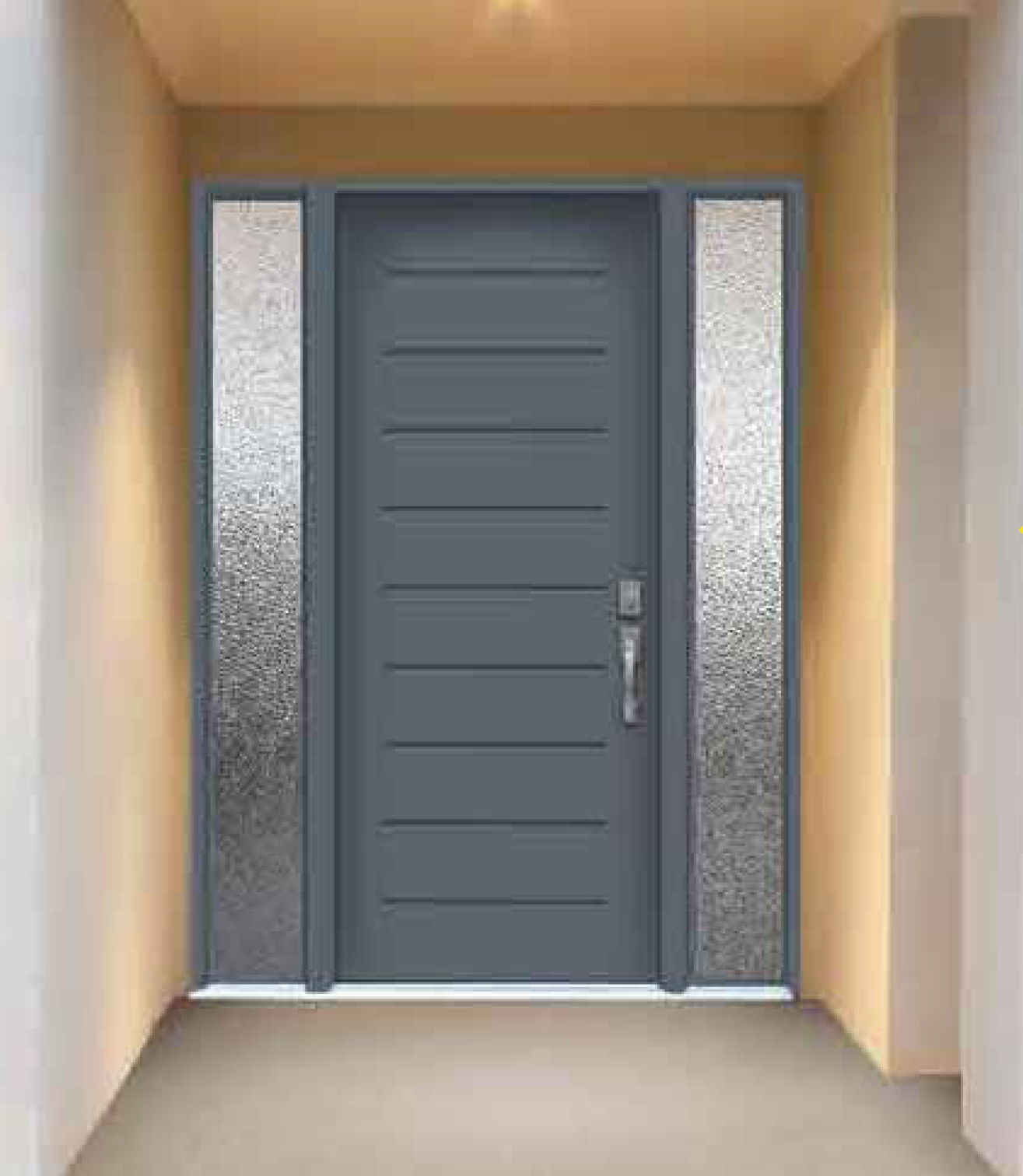 Simple modern front doors for a stunning modern home for Entry door with side windows