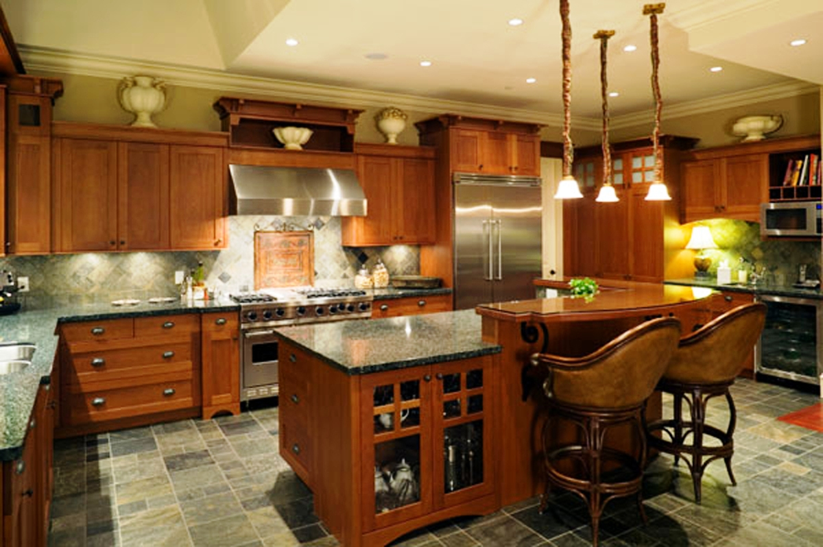 Amusing Design Of The Kitchen Decorating Themes With Brown Wooden Kitchen Island With Grey Marble Countertops