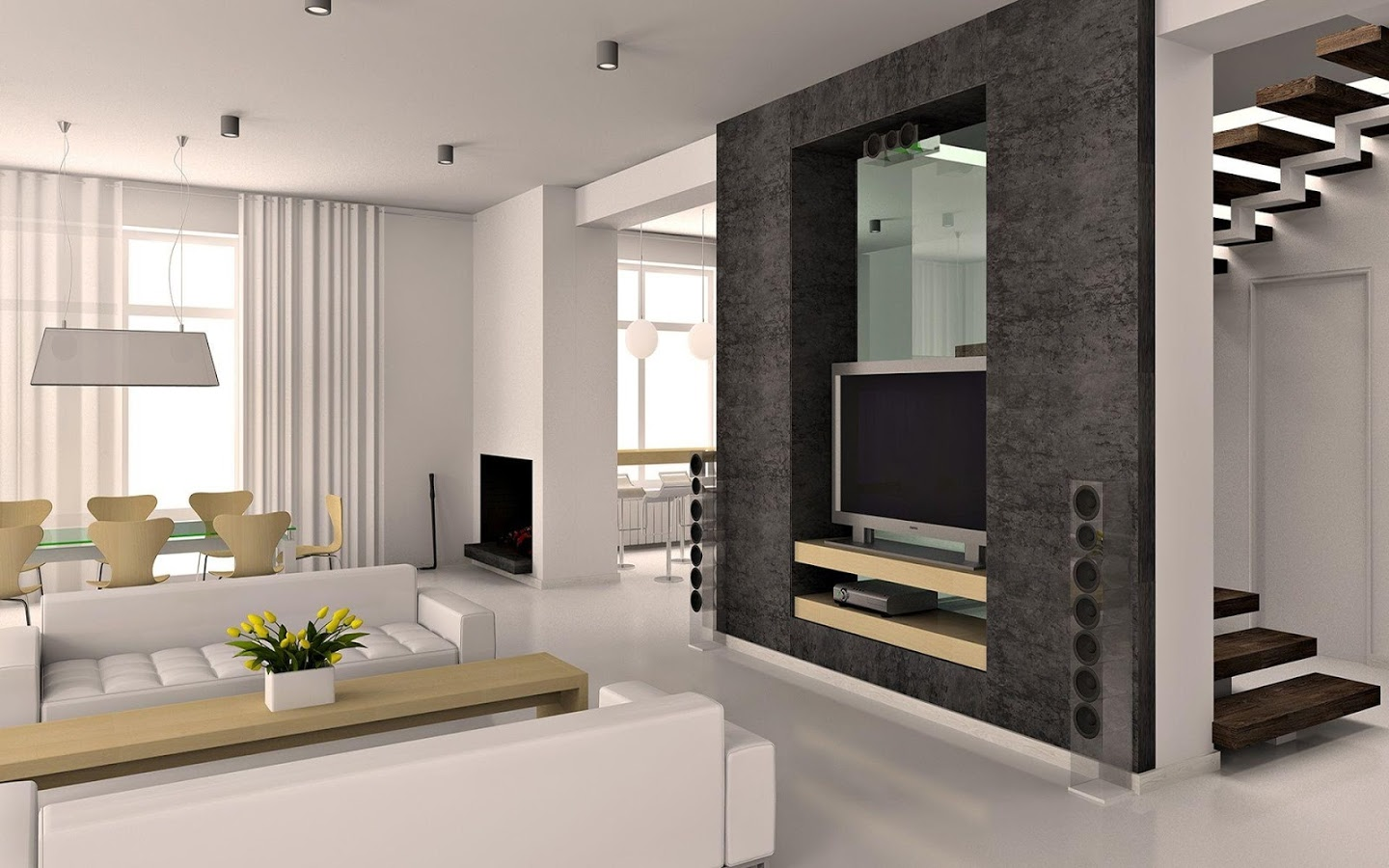 Amusing Design Of The Living Room Areas With Black Wall And Media Cabinets With White Sofa