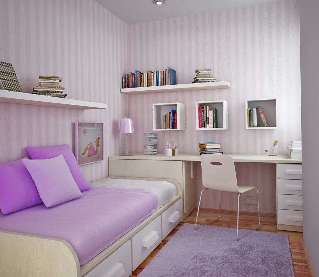 Amusing Design Of The Purple Rugs Added With Purple Wall And Bed As The Bedroom With Small Size Ideas