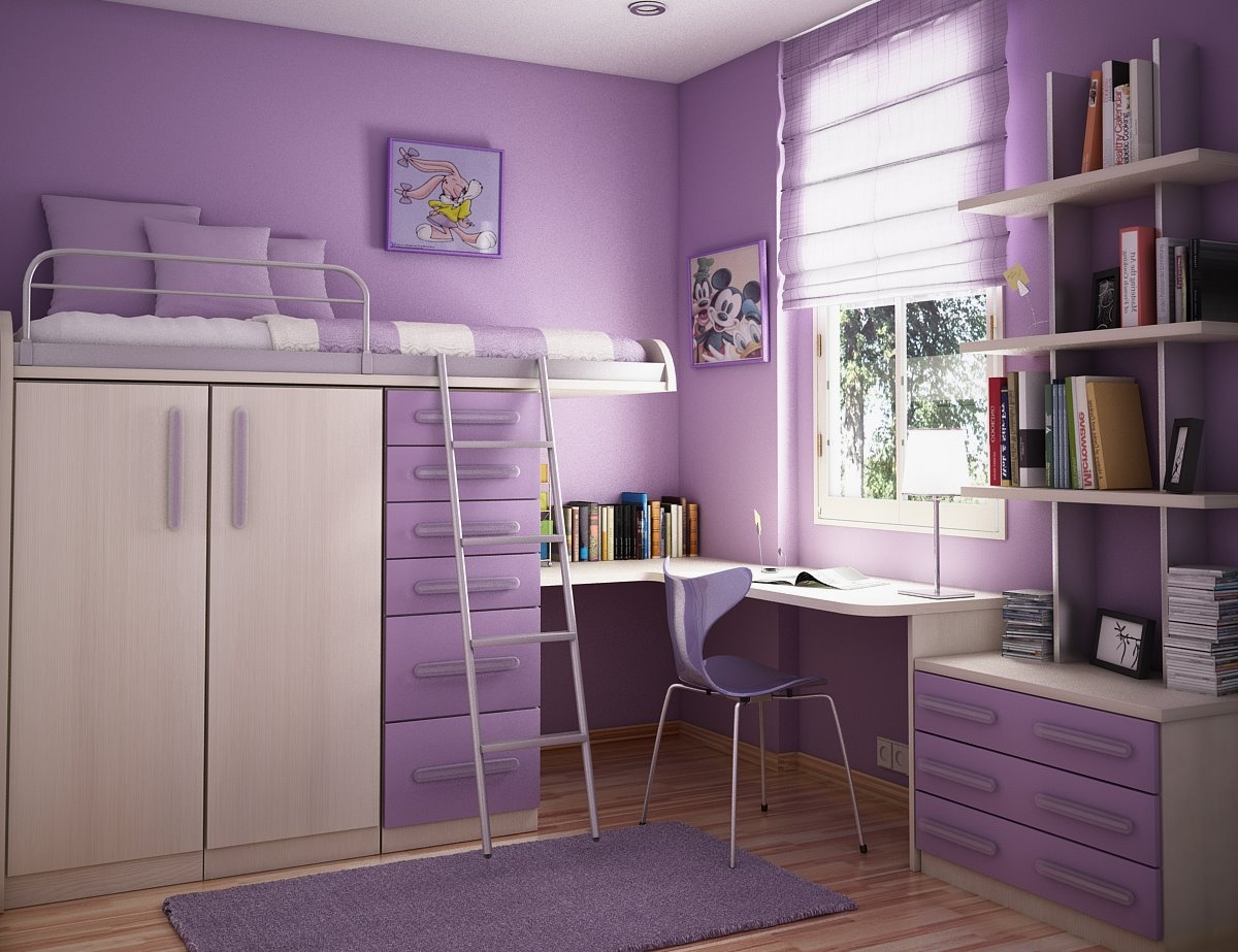 Amusing Design Of The Purple Wall Added With White Cabinets And Purple Drawers As Teenage Room Ideas