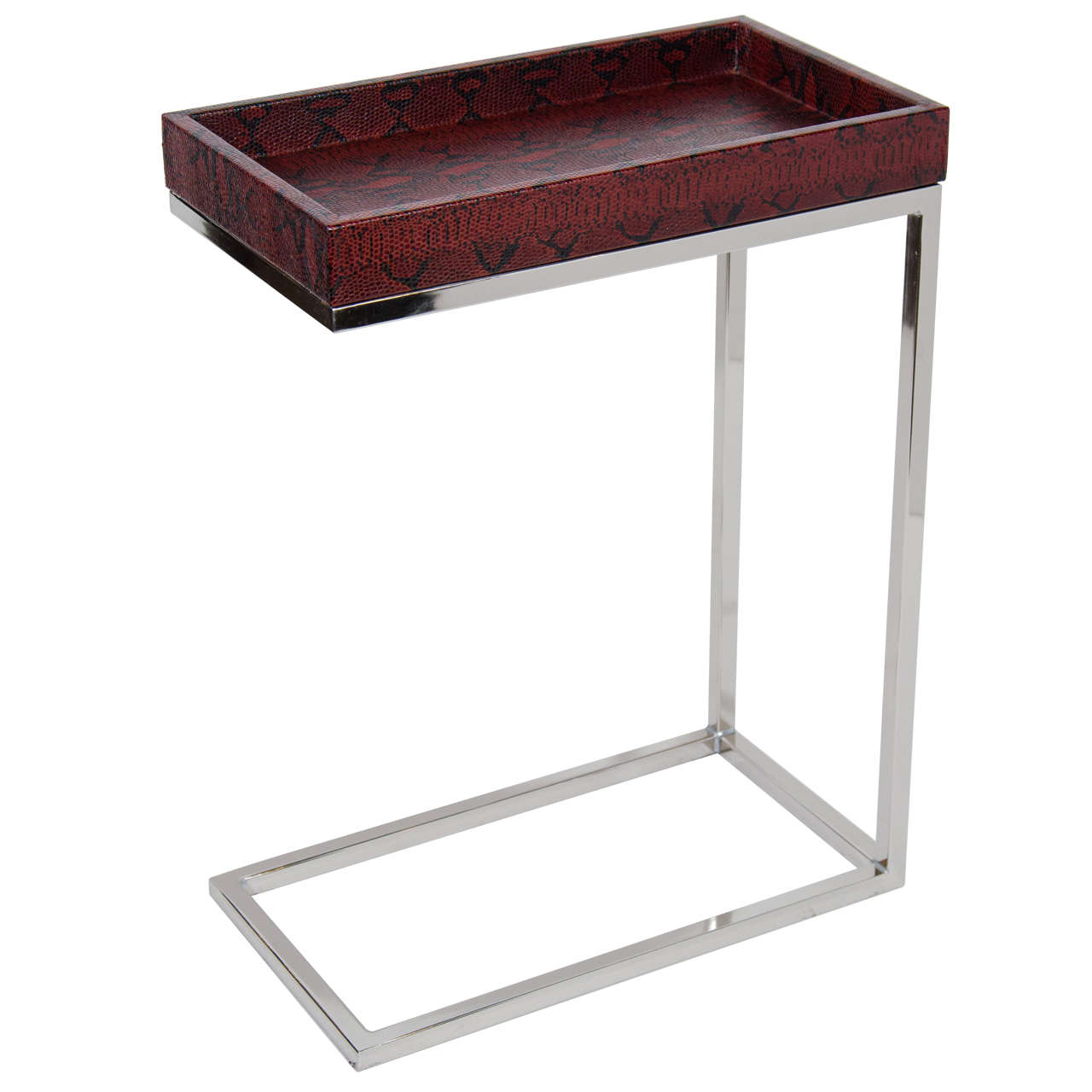 Amusing Design Of The Silver Legs With Brown Wooden Tops As Narrow Side Table For