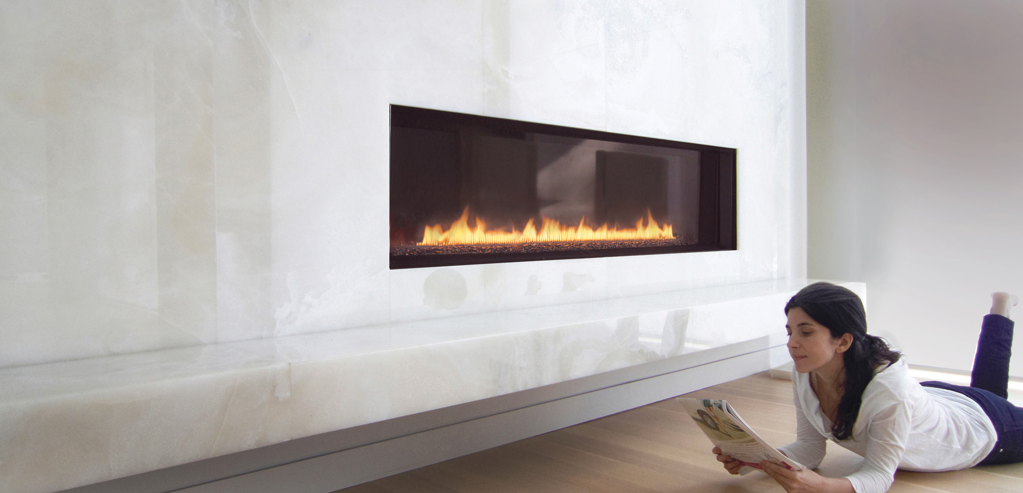 Amusing Design Of The White Wall Ideas With Brown Wooden Floor Added With Modern Gas Fireplace