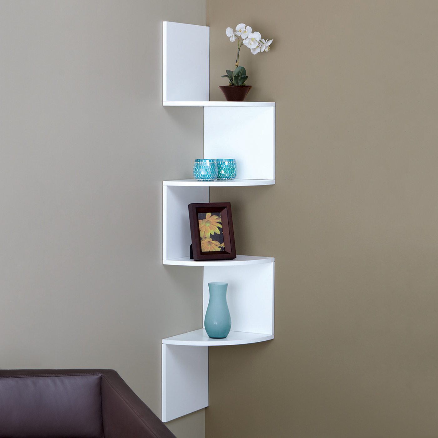 Amusing Design Of The White Wooden Shelves At Corner Ideas On The Grey Wall