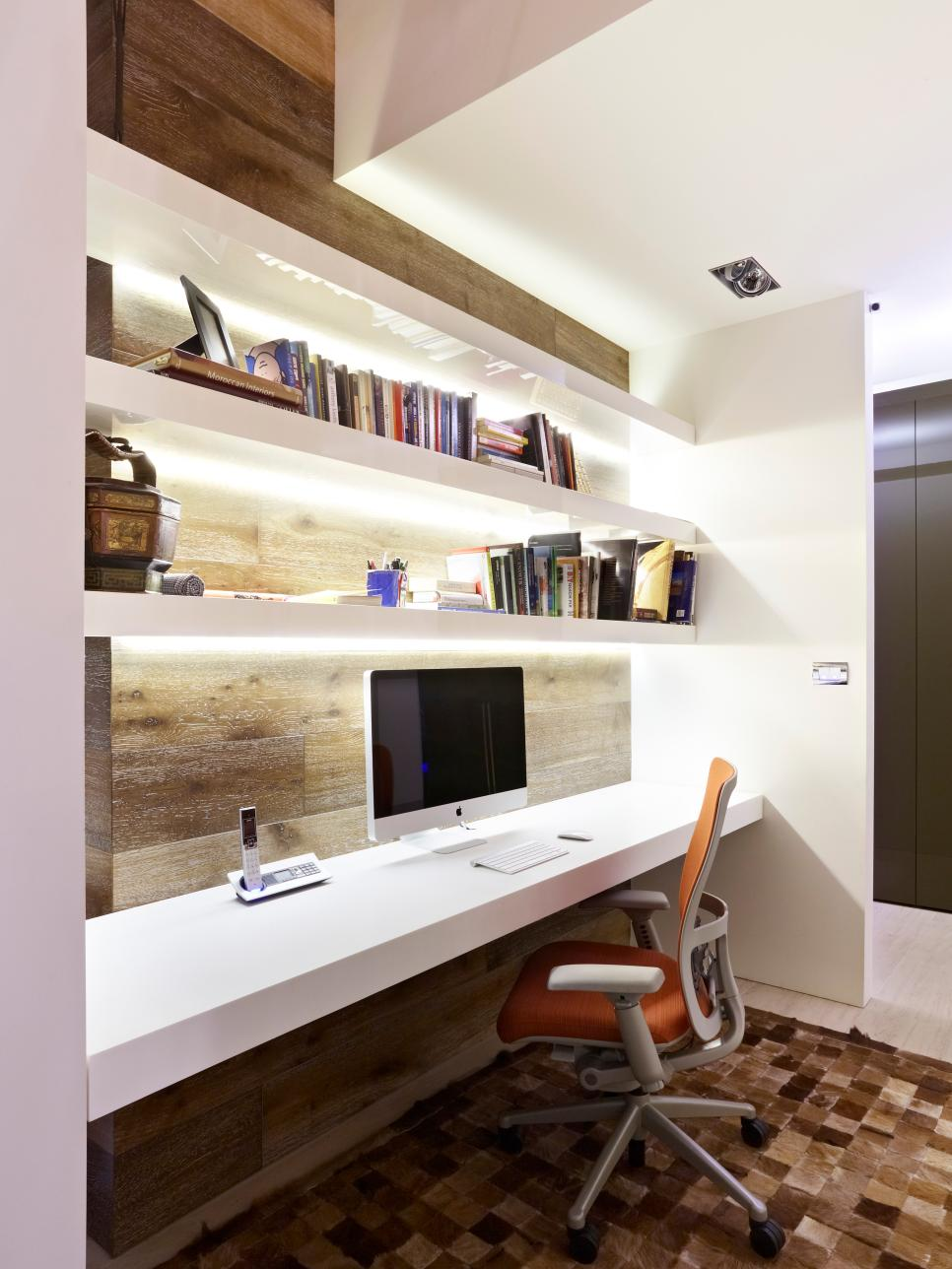Amusing White Wooden Desk And Shelves Ideas As The Ideas Of The Home Design