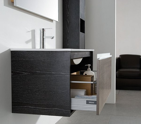 Angelic Design of Bathroom Storage Furniture Of Wooden Material With Drawers