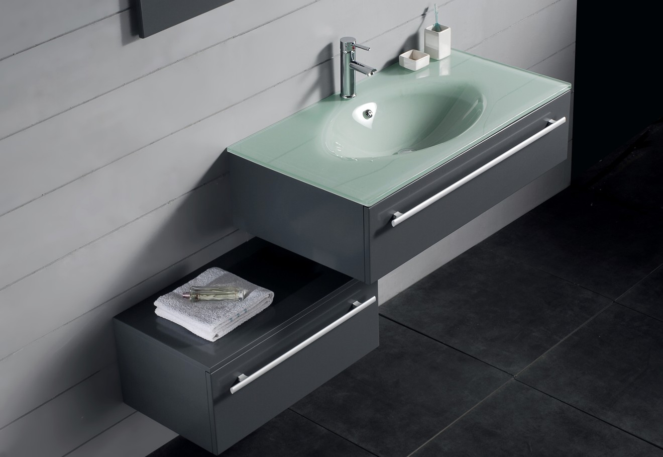 Angelic Design of Contemporary Bathroom Vanities With Stainless Steel Faucet