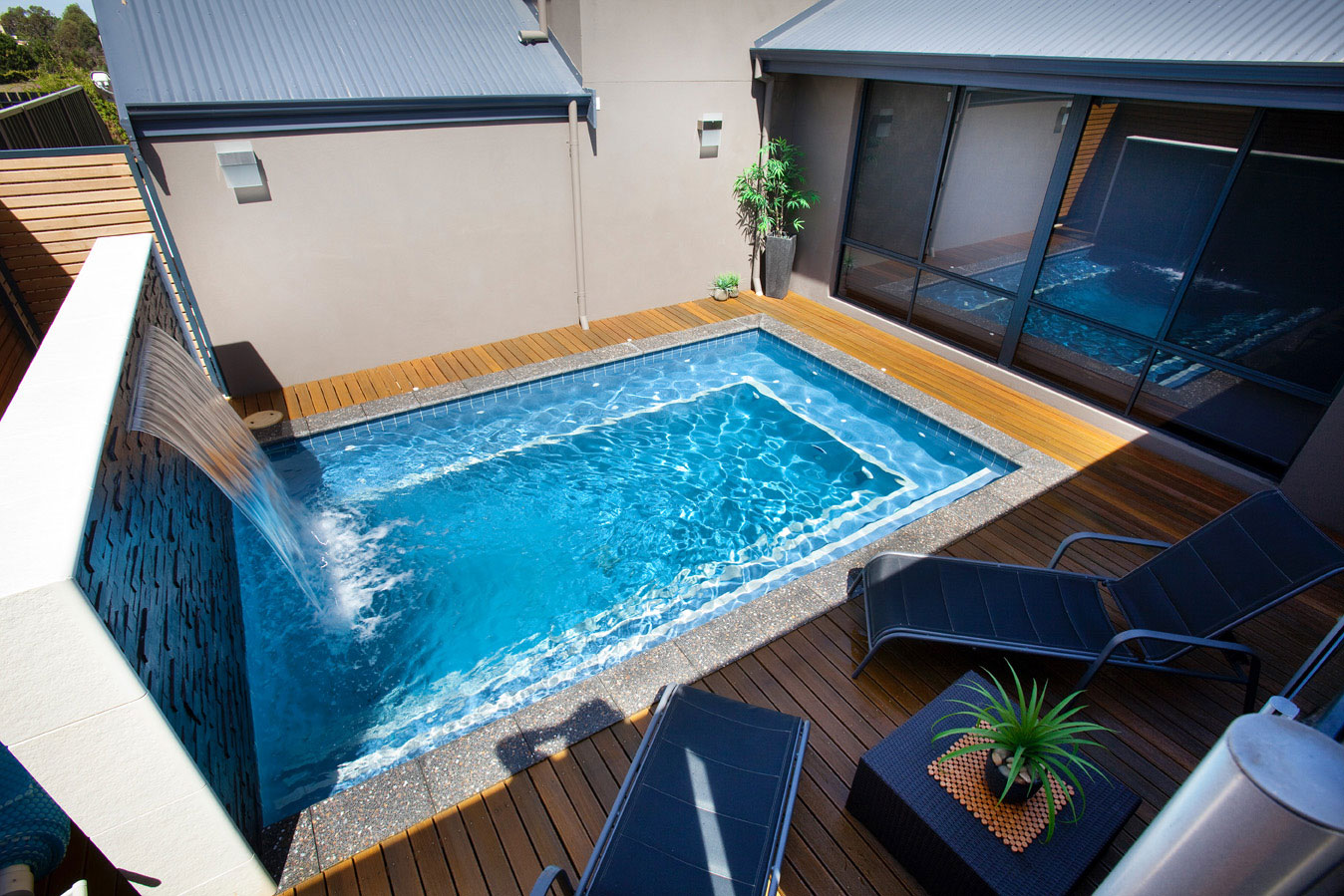 Angelic Design of Small Deck Ideas With Rectangular Swimming Pool