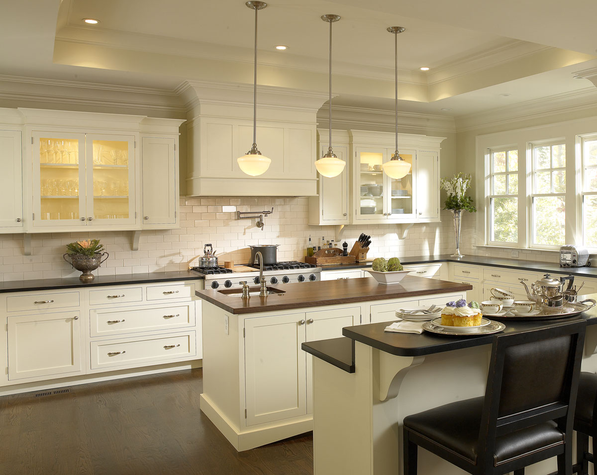 Angelic Interior Using White Cabinet Kitchen also Brown Top Plus Chandelier