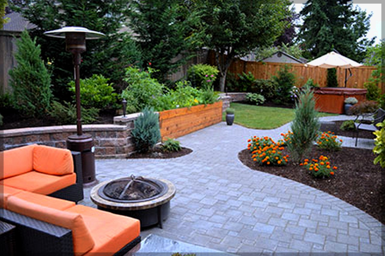 Appealing Design Of Orange Outdoor Sofa Ideas With Grey Tile Floor Of The Backyard Areas