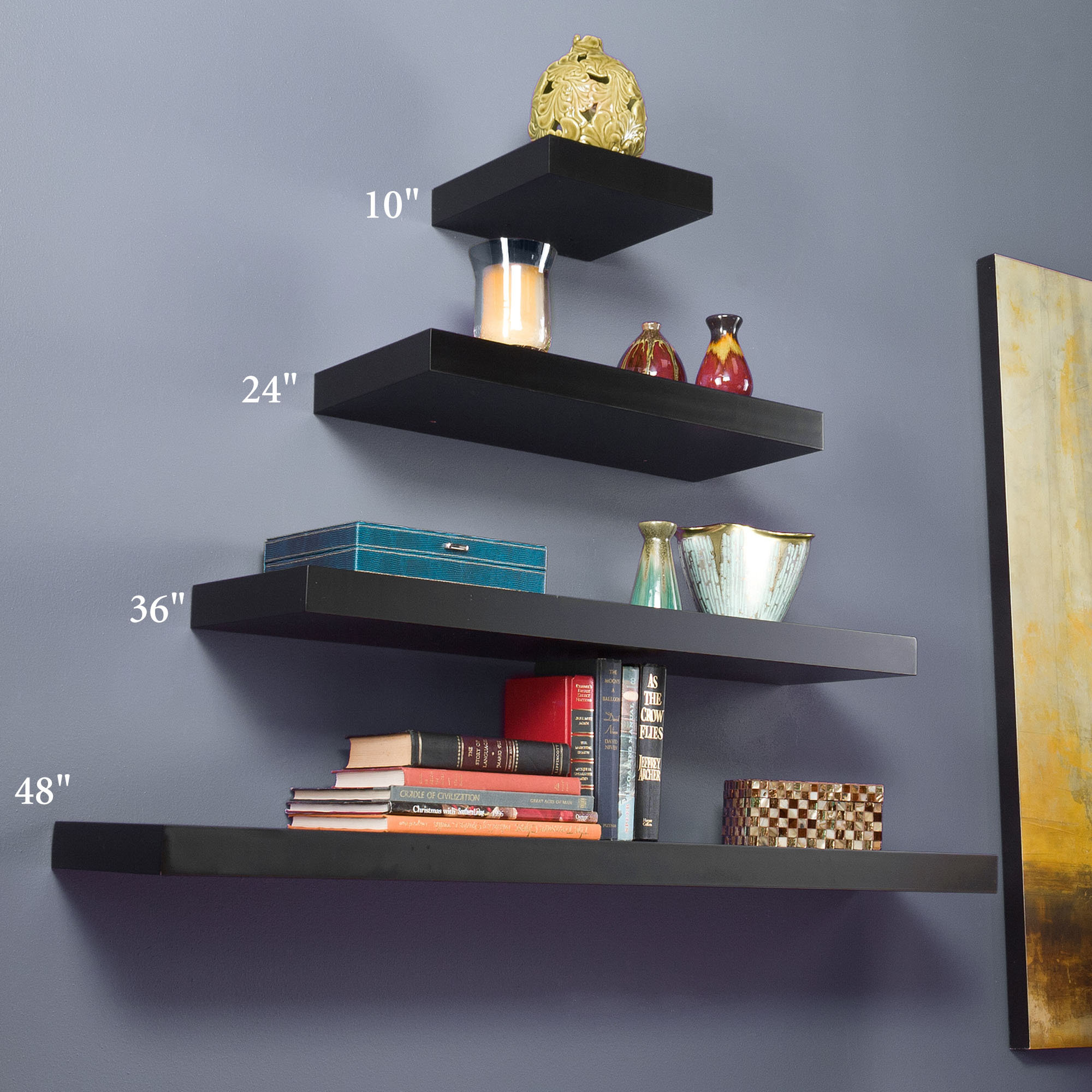Appealing Design Of The Blu Grey Wall Added With Some Levels Of The Black Wooden Floating Wall Shelf