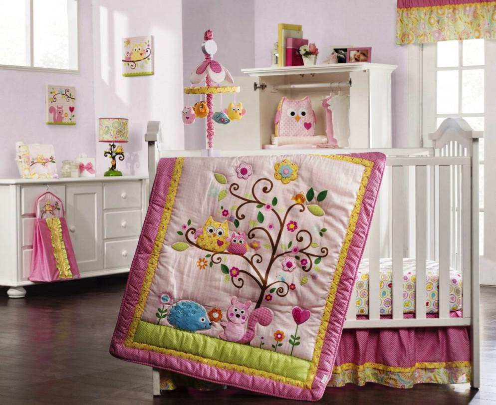 Appealing Design Of The Brown Wooden Floor Added With White Baby Bed And Pink Wall As The Baby Room Ideas