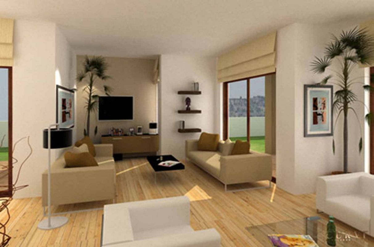 Great Appealing Design Of The Brown Wooden Floor Of The Living Room Areas With  Brown Sofa As