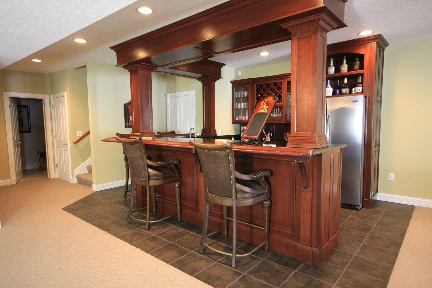Appealing Design Of The Brown Wooden Wet Bar Ideas With Brown Tile Floor At  Some Parts
