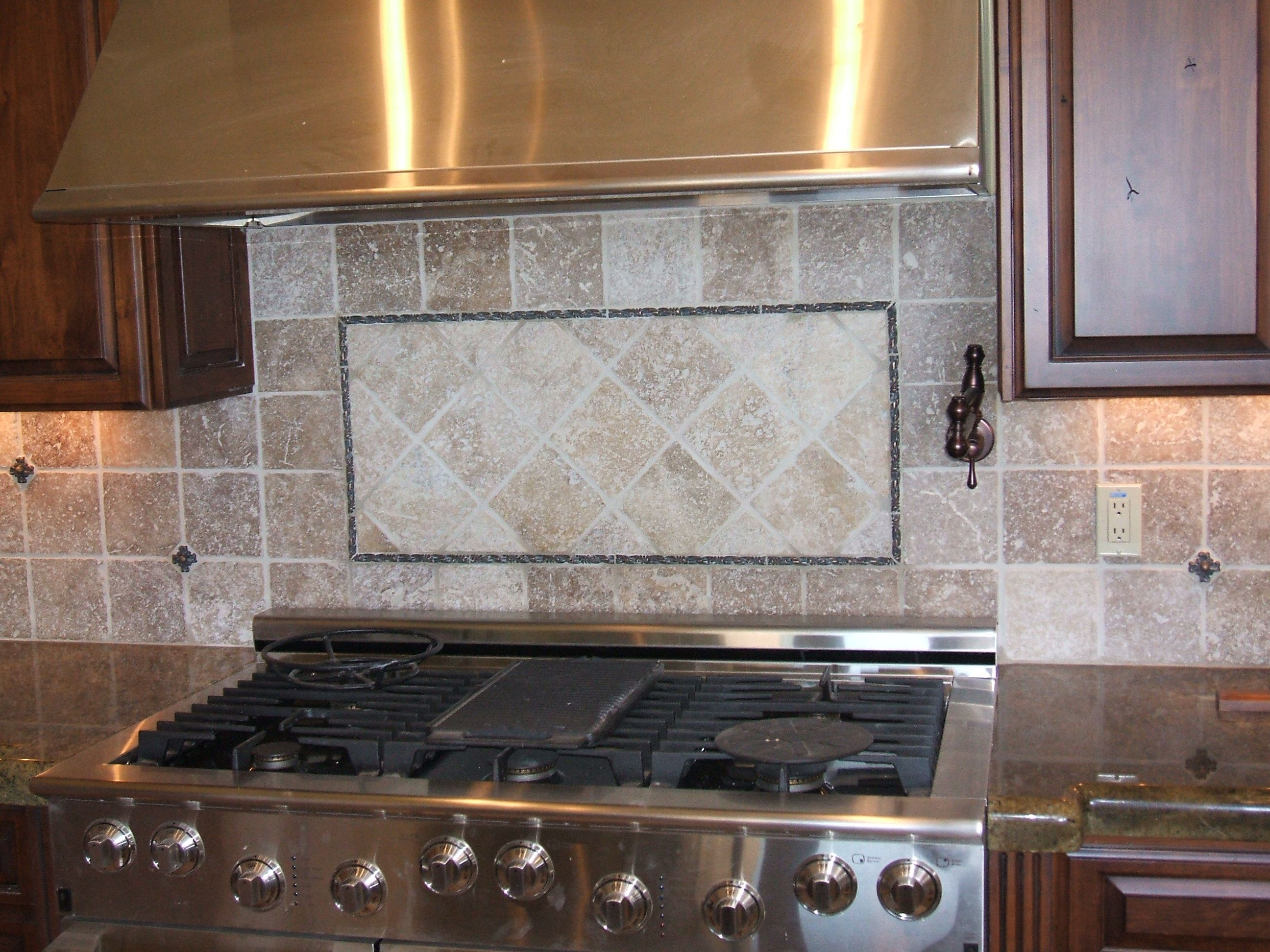 Appealing Design Of The Kitchen Areas With Brown Wooden Cabinets And Grey Tile Backsplash Ideas