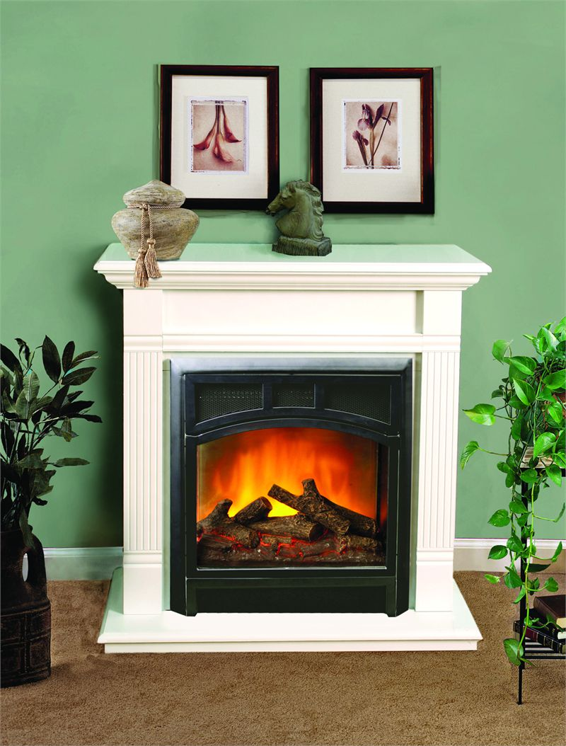Beau Appealing Design Of The White Tile Mantels Small Electric Fireplace With  Green Wall Added With Brown