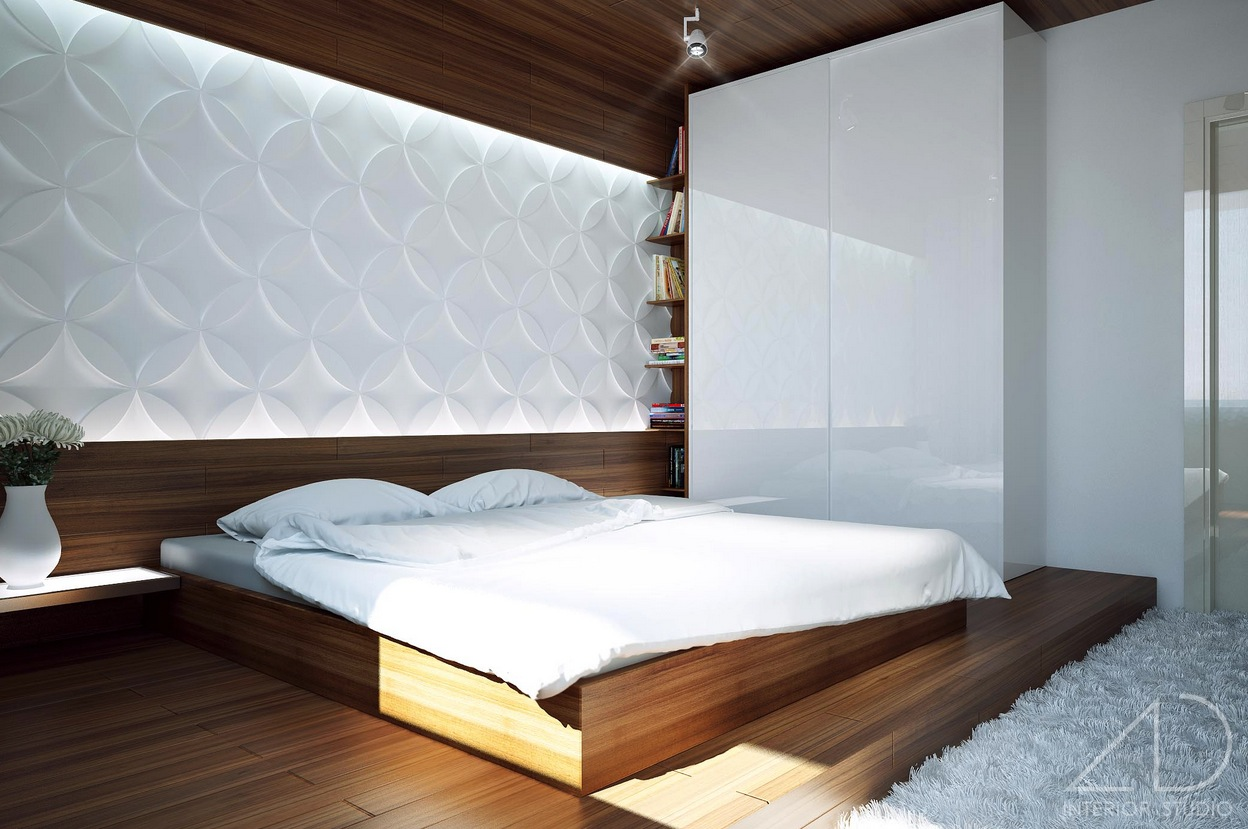 Appealing Design Of The White Wall Ideas With Brown Wooden Bed And Brown Wooden Floor As The Bedroom Modern Ideas